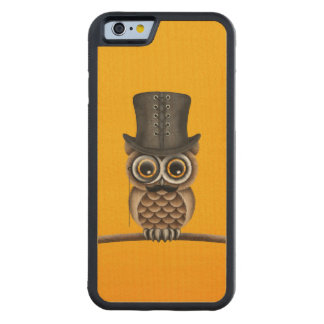 Cute Owl with Monocle and Top Hat Yellow Carved® Maple iPhone 6 Bumper Case