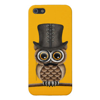 Cute Owl with Monocle and Top Hat Yellow iPhone SE/5/5s Case