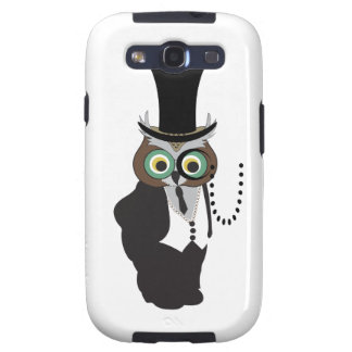 Cute Owl with Monocle Galaxy SIII Cases