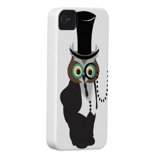 Cute Owl with Monocle iPhone 4 Case-Mate Cases