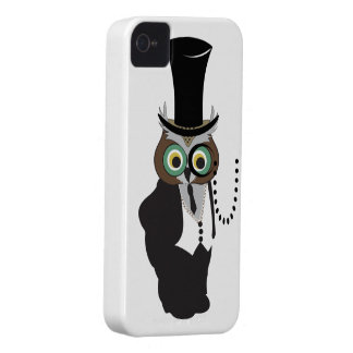 Cute Owl with Monocle iPhone 4 Covers