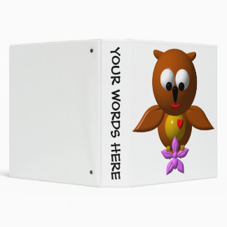 Cute owl with orchid 3 ring binder