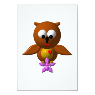 Cute owl with orchid card