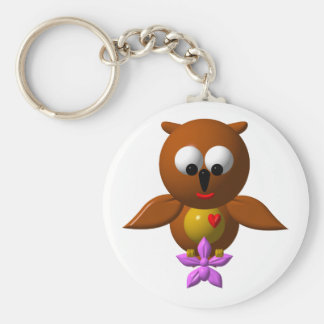Cute owl with orchid key chains