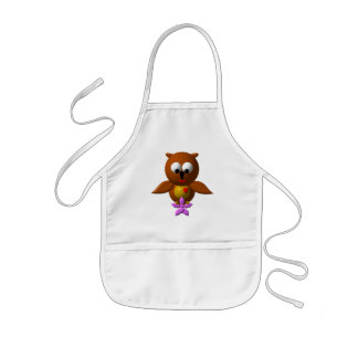 Cute owl with orchid kids' apron