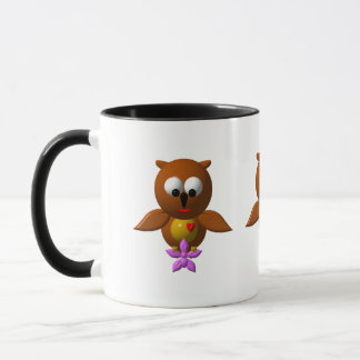 Cute owl with orchid mug