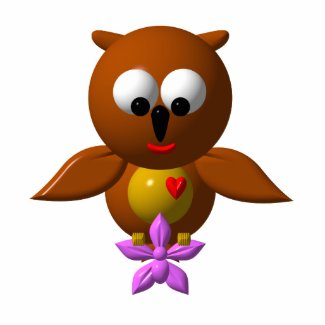 Cute owl with orchid photosculpture