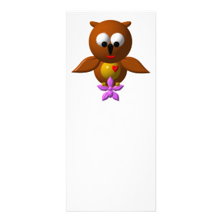 Cute owl with orchid rack card