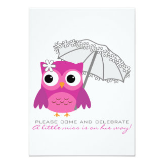 """Cute Owl with Parasol Baby Shower Invitation 5"""" X 7"""" Invitation Card"""
