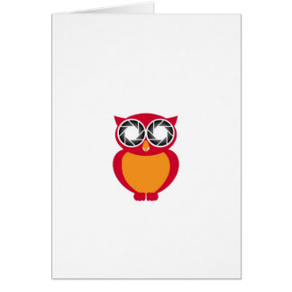 Cute Owl with Photography aperture eyes Card