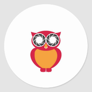 Cute Owl with Photography aperture eyes Classic Round Sticker