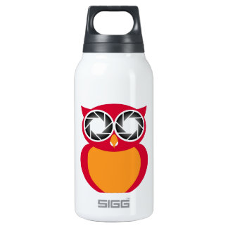 Cute Owl with Photography aperture eyes Insulated Water Bottle