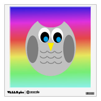 Cute Owl With Rainbow Background Wall Sticker