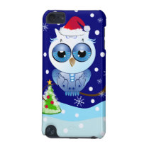 Cute Owl with Santa hat Christmas iPod touch case