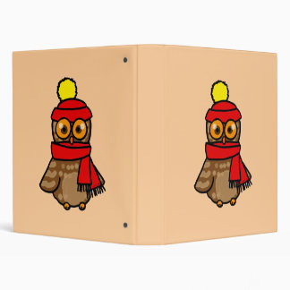 Cute owl with winter hat and scarf 3 ring binder