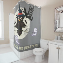 Cute owl with witches hat, ghosts bats Halloween Shower Curtain
