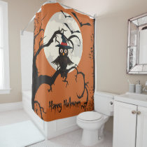 Cute owl with witches hat Happy Halloween Shower Curtain