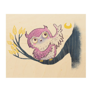 Cute Owl Wood Wall Art