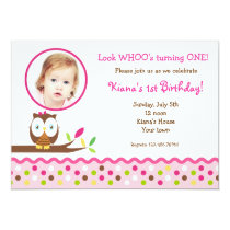 Cute Owl  Woodland Photo  Birthday Invitations