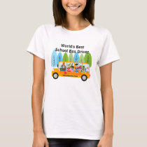 Cute Owl World's Best School Bus Driver T-Shirt