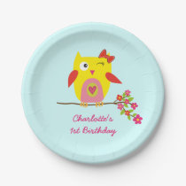 Cute Owl Yellow Pink Flowers Personalized Birthday Paper Plate