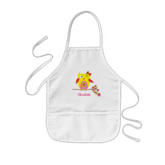 Cute Owl Yellow Pink Flowers Personalized Kids' Apron