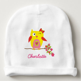Cute Owl Yellow Pink Flowers Personalized Name Baby Beanie