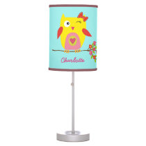 Cute Owl Yellow Pink Flowers Personalized Name Desk Lamp
