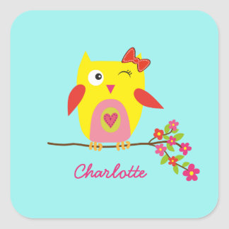 Cute Owl Yellow Pink Flowers Personalized Name Square Sticker