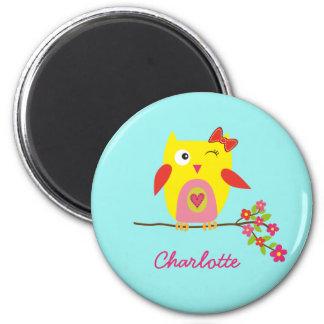 Cute Owl Yellow Pink Illustration Customizable Magnet