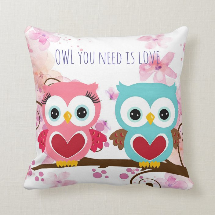 Cute Owl You Need Is Love Flowers Cotton Throw Pillow Zazzle Com