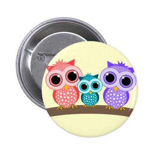 cute owls 2 inch round button