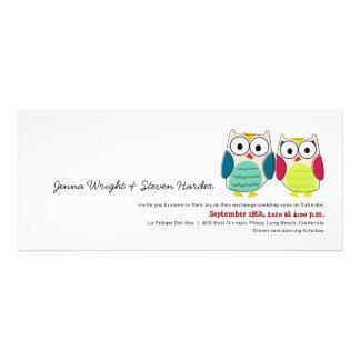 Cute Owls 4x9 Wedding Invitation