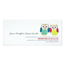 Cute Owls, 4x9 Wedding Invitation