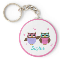 Cute Owls Add Your Name Keychain