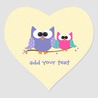 Cute Owls Add Your Text Heart Stickers