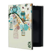 Cute Owls And Bird Cages iPad Cover