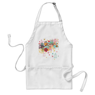 Cute Owls and colourful floral image background Adult Apron