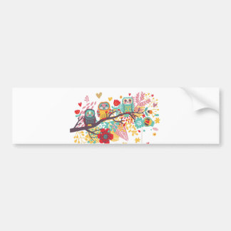 Cute Owls and colourful floral image background Bumper Sticker