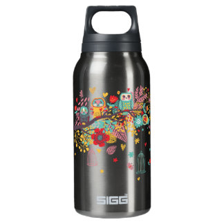 Cute Owls and colourful floral image background Insulated Water Bottle