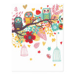 Cute Owls and colourful floral image background Postcards