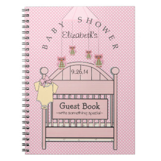 Cute Owls and Crib Baby Shower Guest Book- Notebook
