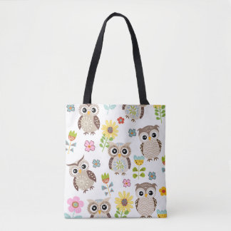 Cute Owls and Flowers All-over-Print Tote Bag