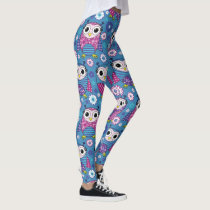 Cute Owls And Flowers Leggings