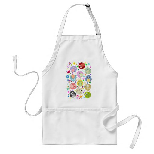 Cute Owls and Flowers pattern Adult Apron