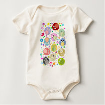 Cute Owls and Flowers pattern Baby Bodysuit