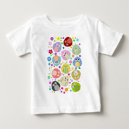 Cute Owls and Flowers pattern Baby T-Shirt