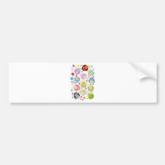 Cute Owls and Flowers pattern Car Bumper Sticker