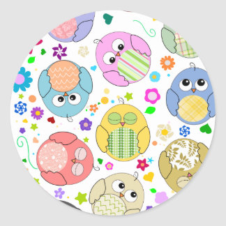 Cute Owls and Flowers pattern Classic Round Sticker