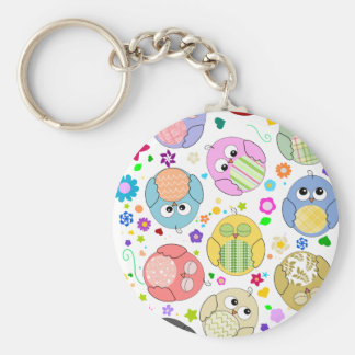 Cute Owls and Flowers pattern Keychain